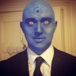 Dr. Manhattan Halloween Makeup, Bald Cap & Blue Makeup