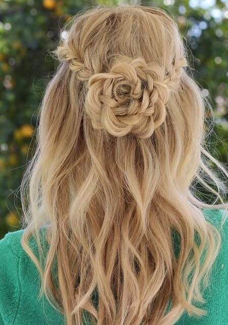 Flower braid, half up hairstyles, braids for summer
